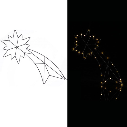 LED Sternschnuppe Metall inkl. Timer
