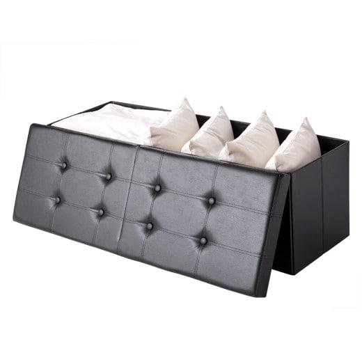 Faltbare Sitztruhe mit klappbarem Deckel in schwarz