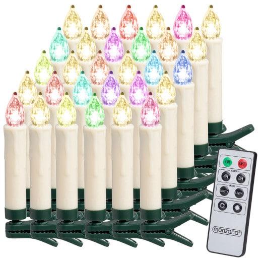 LED Weihnachtsbaumkerzen 30er-Set Mehrfarbig mit Fernbedienung