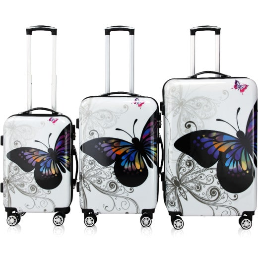 Kofferset Hartschale 3 tlg. Butterfly M/L/XL aus Polycarbonat 42l, 66l, 98l