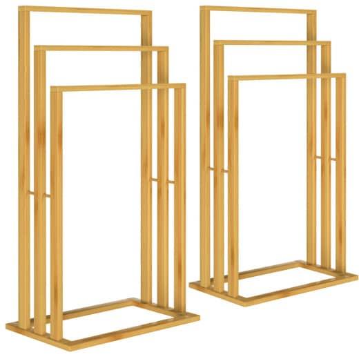 2 Handtuchhalter aus Bambus mit jeweils 3 Stangen