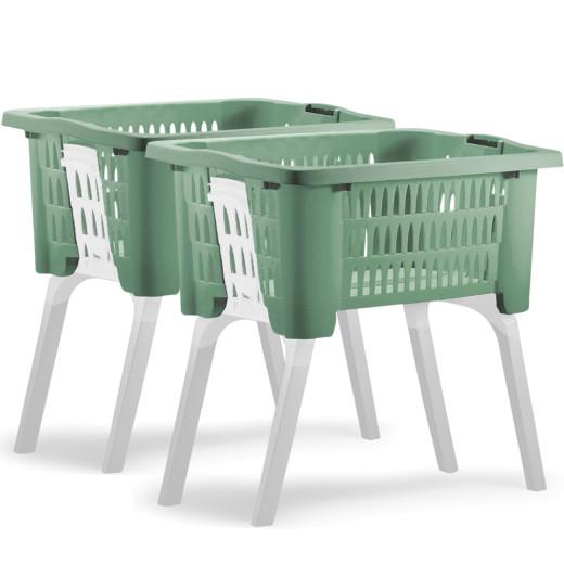 2x Wäschekorb mit ausklappbaren Beinen grün