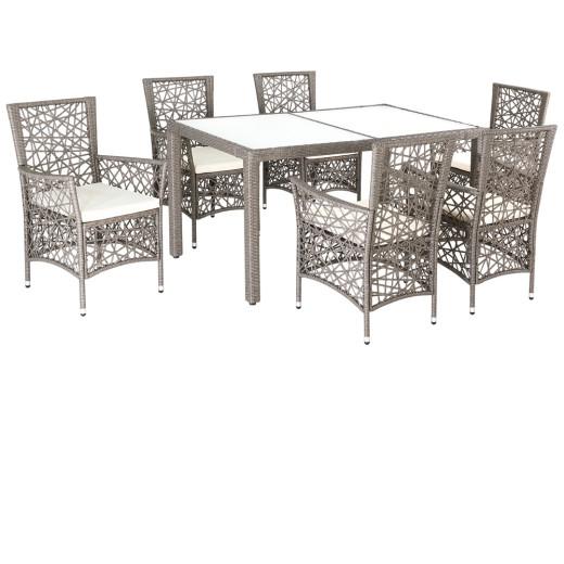 Polyrattan Tisch grau, 6 Stühle inklusive Auflagen