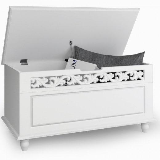 Holztruhe Jersey Weiß 80x40x48cm