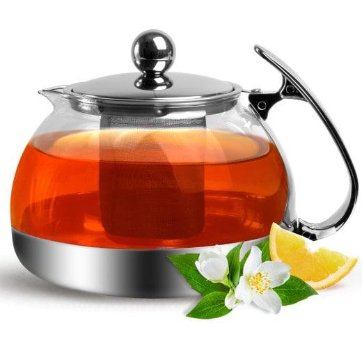 Teekanne mit herausnehmbarem Sieb aus Edelstahl & Glas 1,2 L
