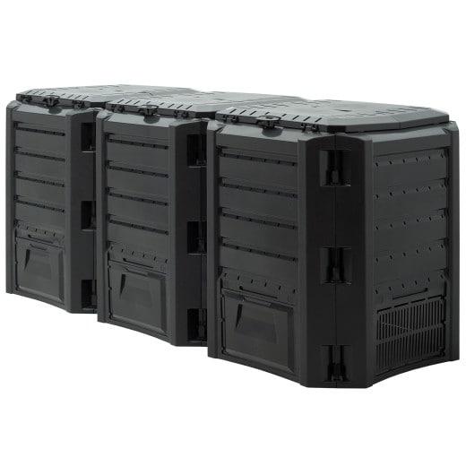 Komposter in Schwarz mit 1200L Volumen 198x72x83cm