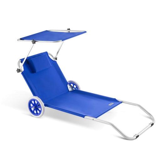 Sonnenliege Kreta Blau Alu mit Rollen