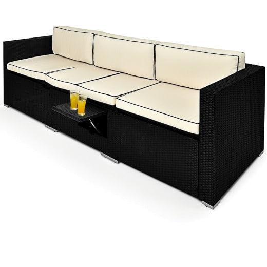 Polyrattan-Bank Schwarz-Creme 230x70x70cm verstellbar