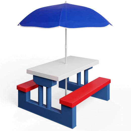 Sitzgruppe für Kinder mit Sonnenschirm