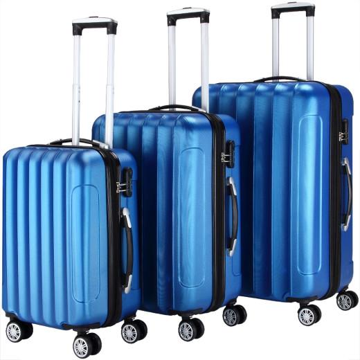 Koffer Hartschale 3 tlg. Business Blau M/L/XL aus ABS 42l, 66l, 98l