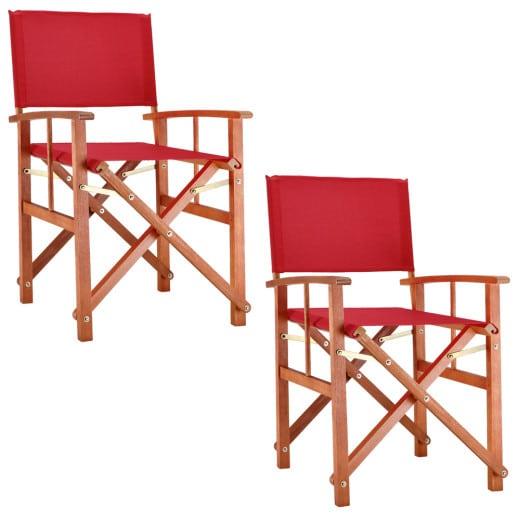 Regiestuhl 2er-Set Rot Eukalyptus