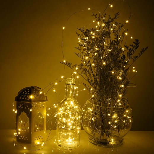 Silberdraht mit 100 LEDs