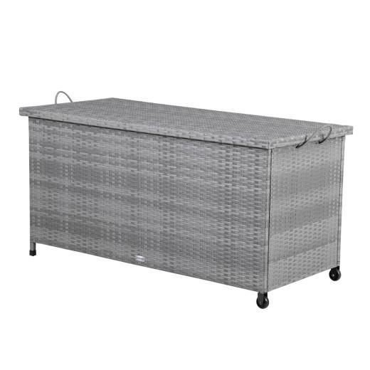 Polyrattan Auflagenbox Grau 122x56x61cm mit Rollen