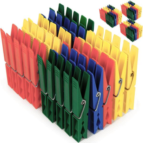 200x Wäscheklammern Kunststoff in 4 Farben