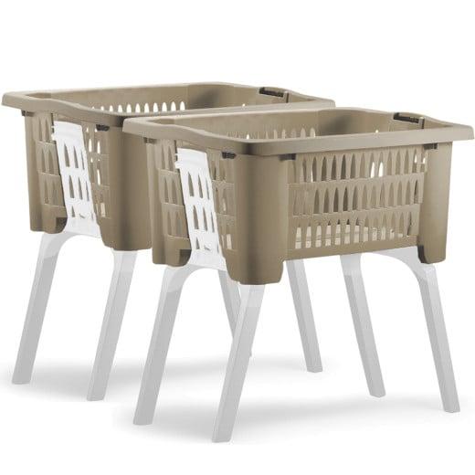 2x Wäschekorb mit ausklappbaren Beinen braun
