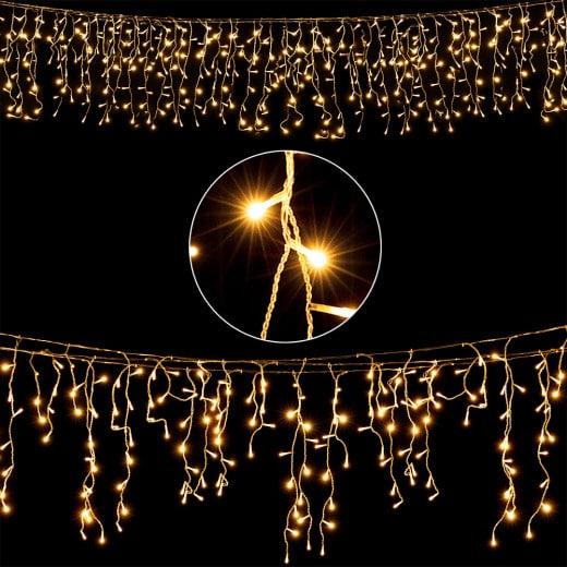 10m Regenlichterkette mit 200 LEDs für den Innen- und Außenbereich