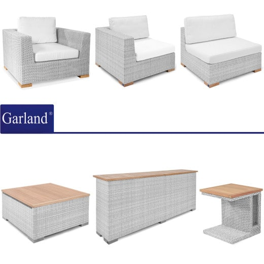 Polyrattan Premium Lounge Havanna Weiß/Grau