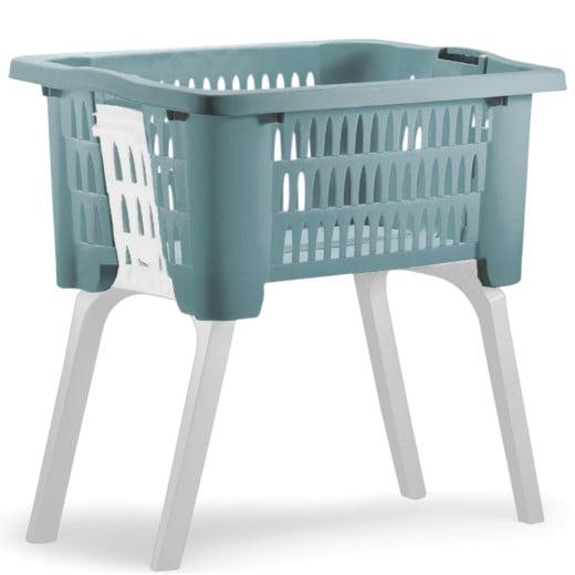 Wäschekorb mit ausklappbaren Beinen blau