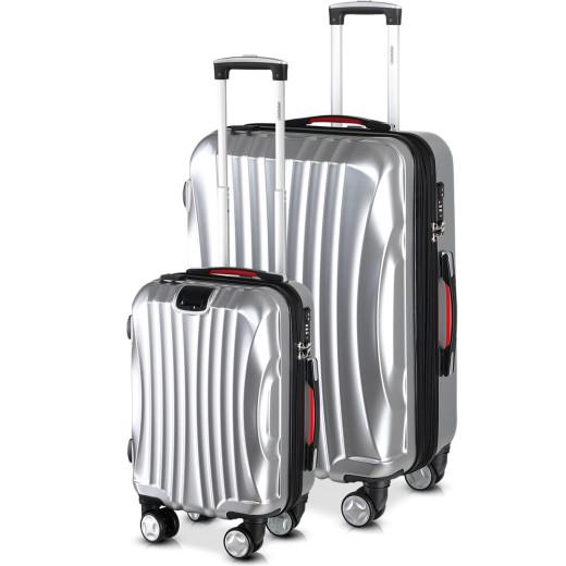 Koffer Hartschale 2 tlg. Ikarus Silber M/XL aus ABS 38l, 105l