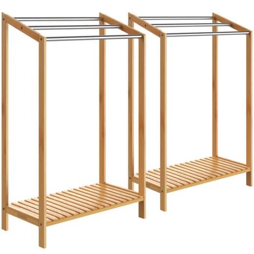 Bambus-Handtuchhalter mit Edelstahlstangen