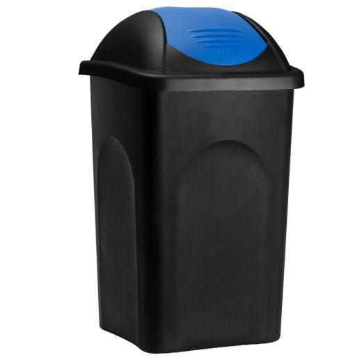 Mülleimer Schwarz/Blau Kunststoff 60L