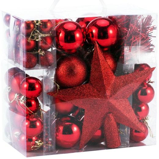 Weihnachtsbaumkugeln Rot 77 tlg.