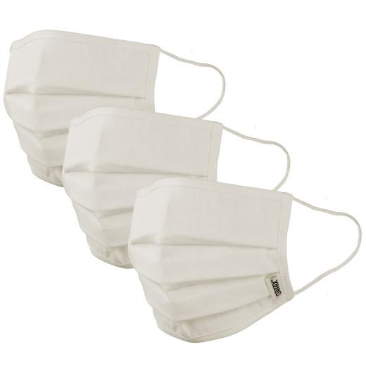 Mund-Nasen-Maske 3er-Set Creme - 100% Baumwolle