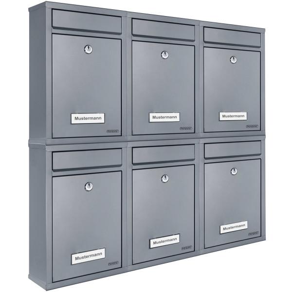 6x Briefkasten mit 2 Schlüsseln - silber
