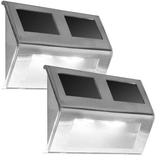 LED Solar-Wandleuchte 2er-Set Edelstahl