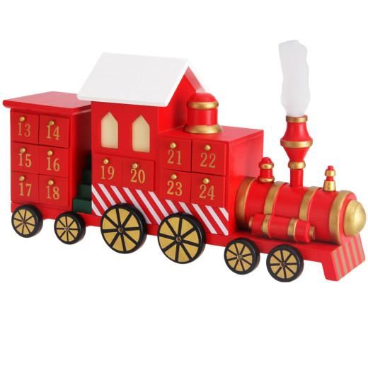 Adventskalender Lokomotive mit Schubladen zum Selbstbefüllen