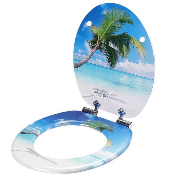 Toilettensitz mit Strandmuster