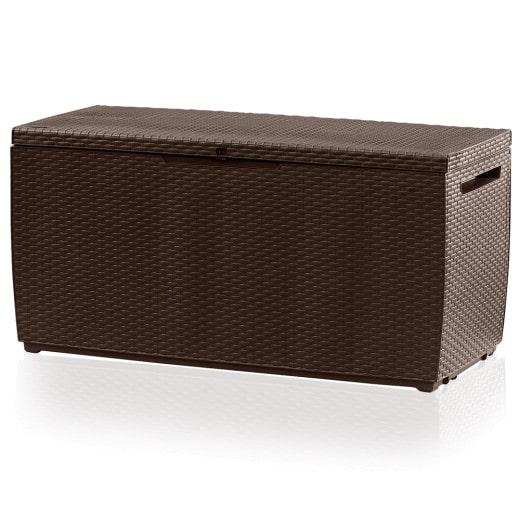 Polyrattan Auflagenbox Braun 123x53x58 cm mit Rollen