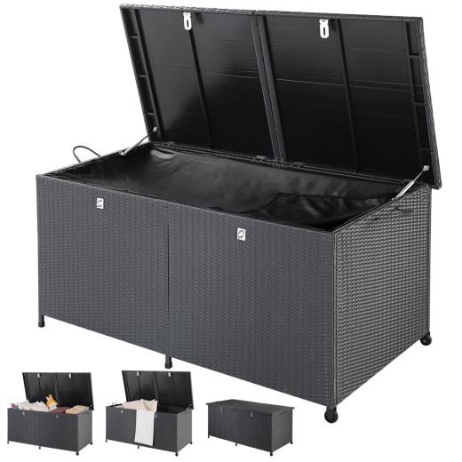 Polyrattan-Auflagenbox Schwarz 150x77x73cm mit Rollen