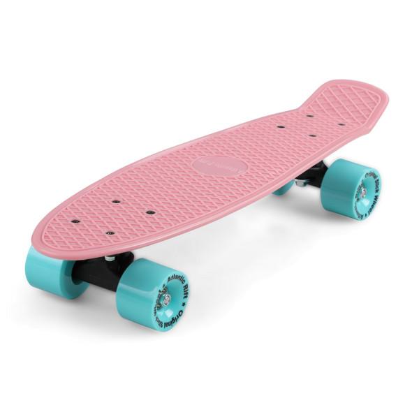 Retro Skateboard Rosa-Mint mit LED