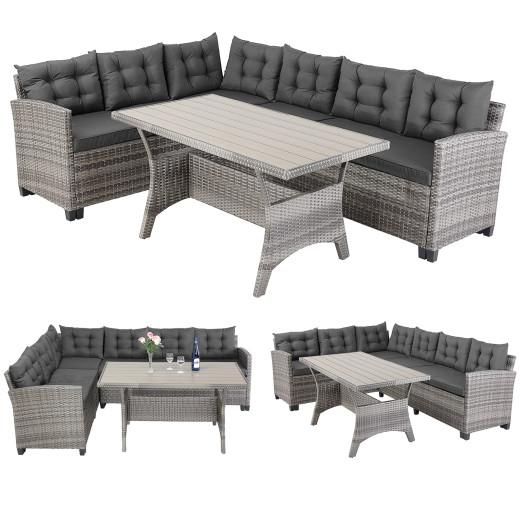 Polyrattan Lounge-Set Lissabon Grau/Anthrazit WPC Tischplatte