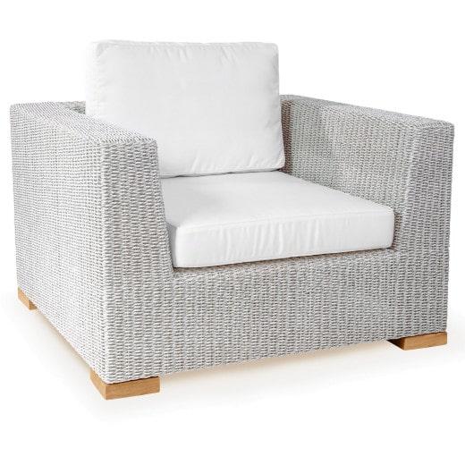 Polyrattan Sessel Havanna Weiß/Grau
