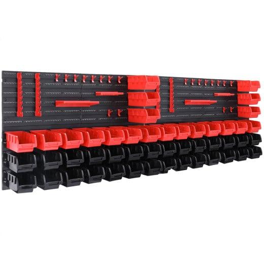 2x Wandregal mit Stapelboxen und Werkzeughalter je 45tlg.