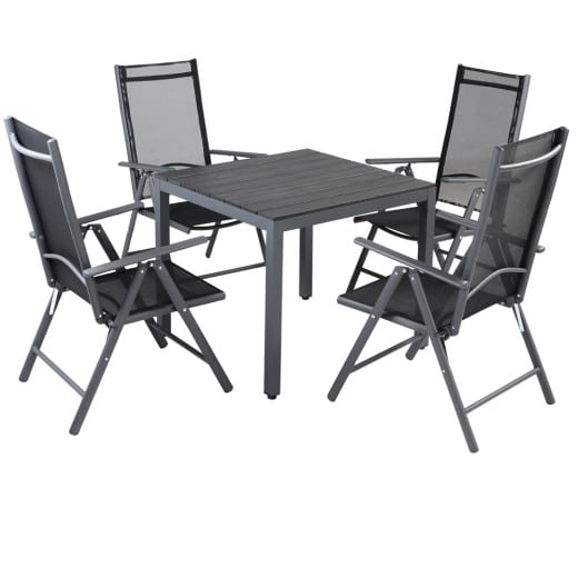 Sitzgruppe Bern 5-tlg. Anthrazit Alu mit WPC Tischplatte