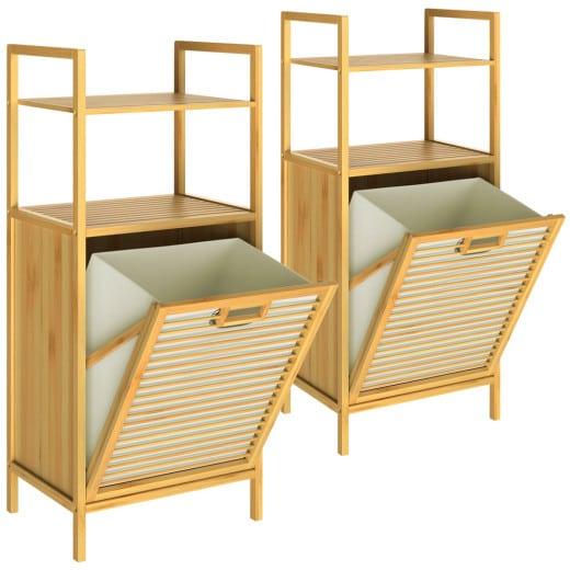 2x Bambus Badregal mit Wäschekorb