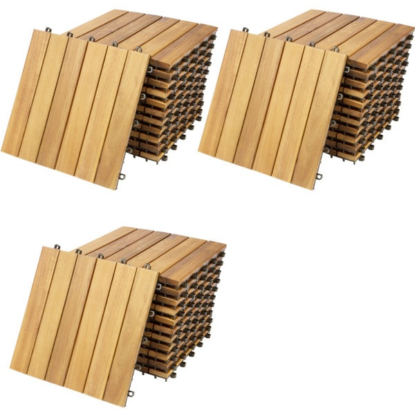 Holzfliese Akazie 33er-Set 30x30cm