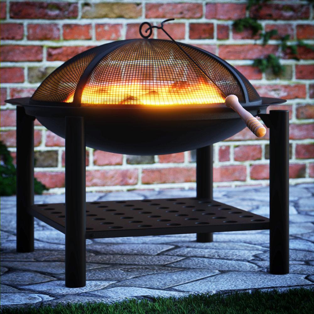 Feuerstelle Stahl Ø20cm mit Holzablage