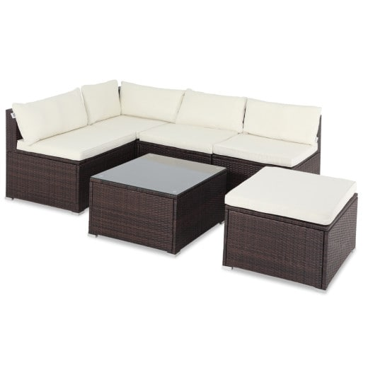 Polyrattan Lounge-Set 16-tlg. Braun