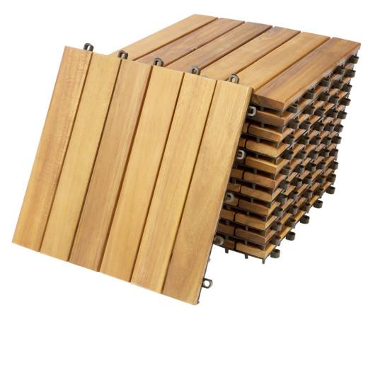 11er Set Holzfliese aus Akazie 30x30cm