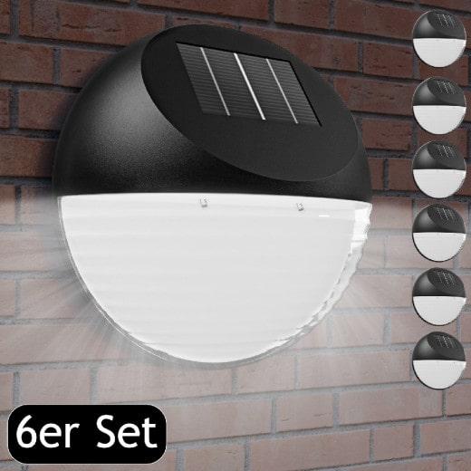 LED Solarwandleuchte 6er-Set Ø11cm
