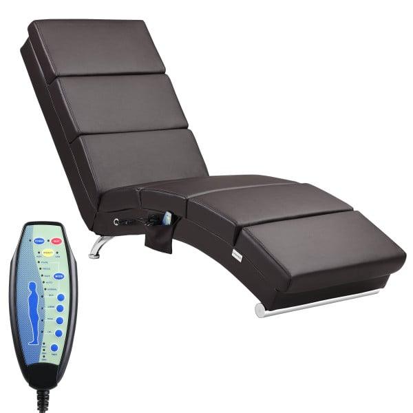 Relaxliege London Dunkelbraun mit Massage- & Heizfunktion