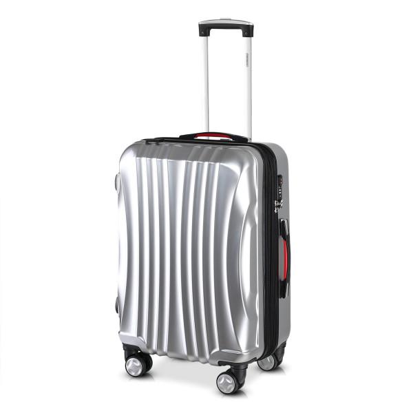 Koffer Hartschale Ikarus Silber L aus ABS 90-102l 67,5x48x28cm