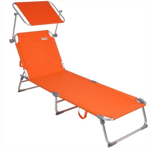 """Sonnenliege """"Ibiza"""" Orange Alu mit Sonnendach"""