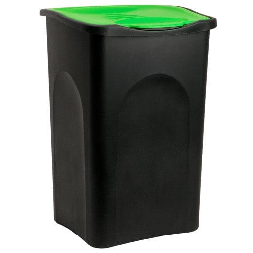 Mülleimer Schwarz/Grün Kunststoff 50L