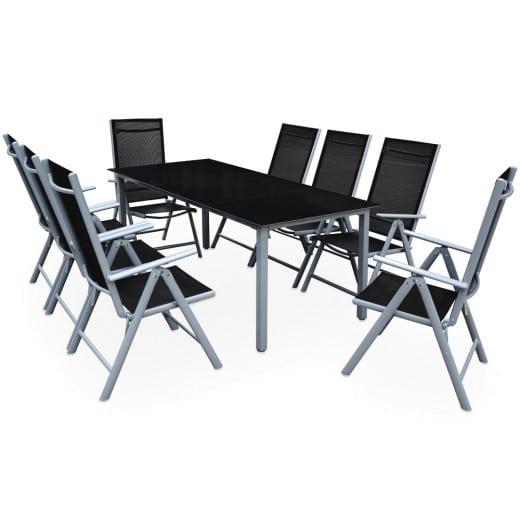 Sitzgruppe Bern 9-tlg. Silber Alu