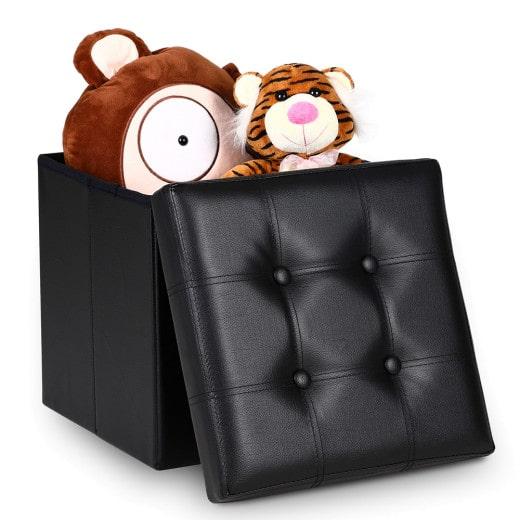 Faltbarer Sitzhocker mit Stauraum in schwarz